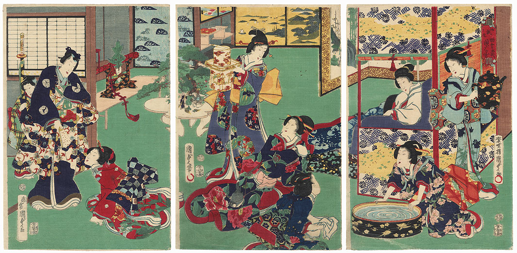 The Birth of the Child: Inaka Genji at Suma, 1867 by Kunisada II (1823 - 1880)