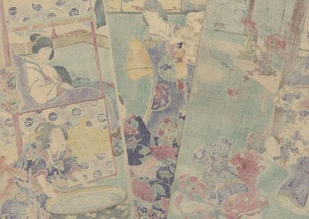 The Birth of the Child: Inaka Genji at Suma, 1867 by Kunisada II (1823 - 1880)
