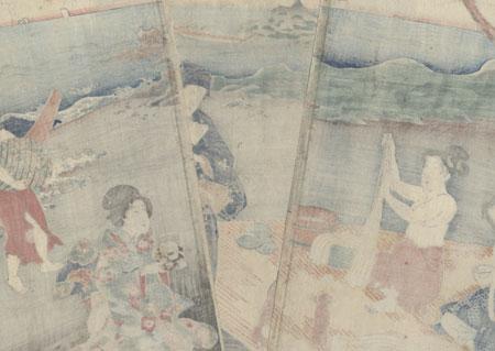 Mitsuuji on the Beach at Ise Watching Awabi Divers, 1860 by Toyokuni III/Kunisada (1786 - 1864)