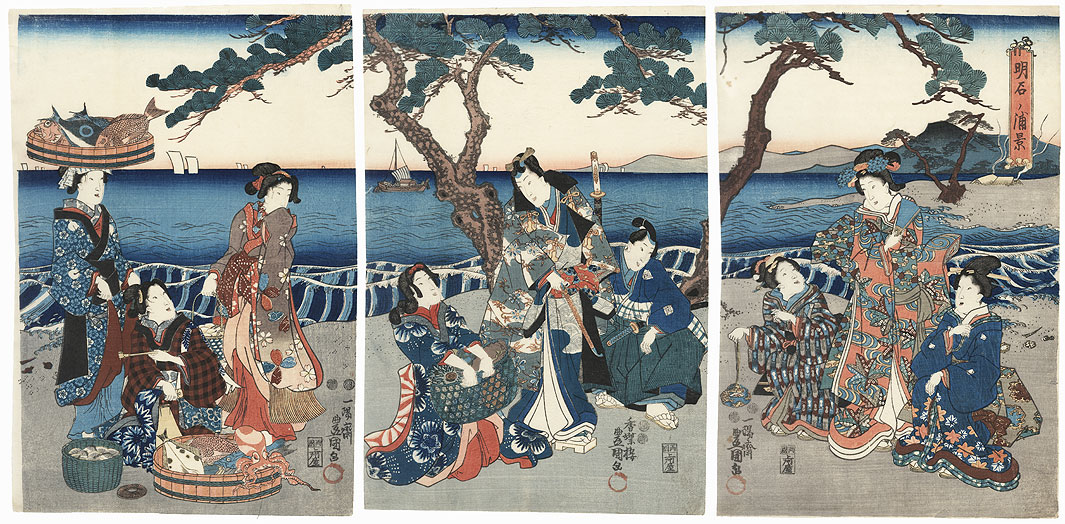 View of Akashi Bay, 1847 - 1852 by Toyokuni III/Kunisada (1786 - 1864)