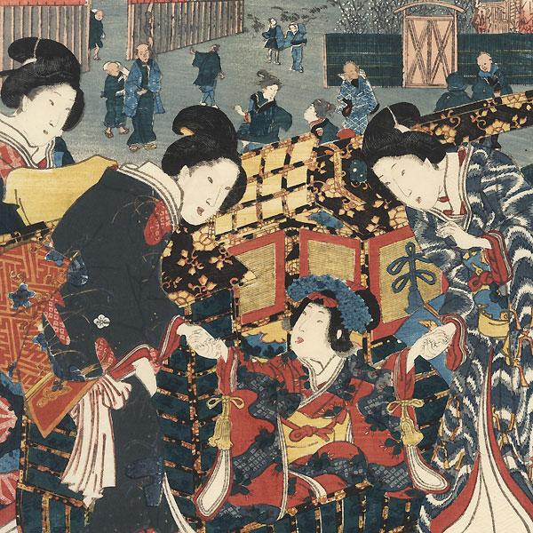 Prince Genji Viewing Plum Blossoms, 1853 by Toyokuni III/Kunisada (1786 - 1864)