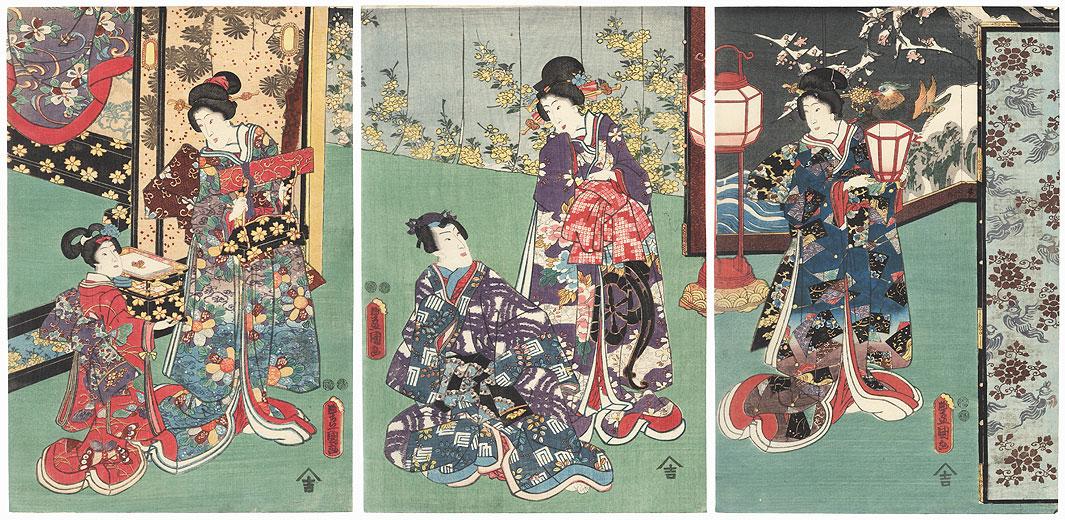 Prince Genji and Beauties, 1847 - 1852 by Toyokuni III/Kunisada (1786 - 1864)