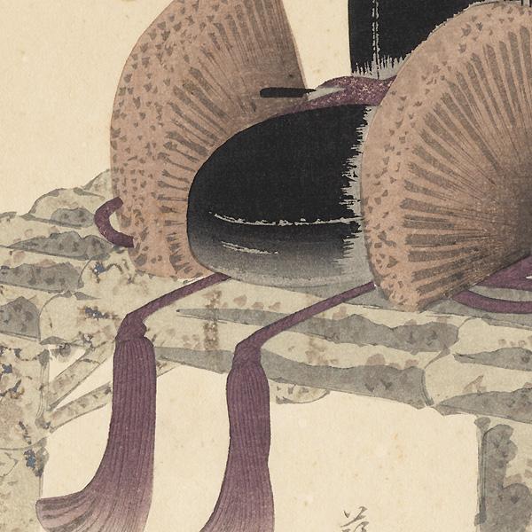 Court Cap Surimono by Sadanobu (1809 - 1879)