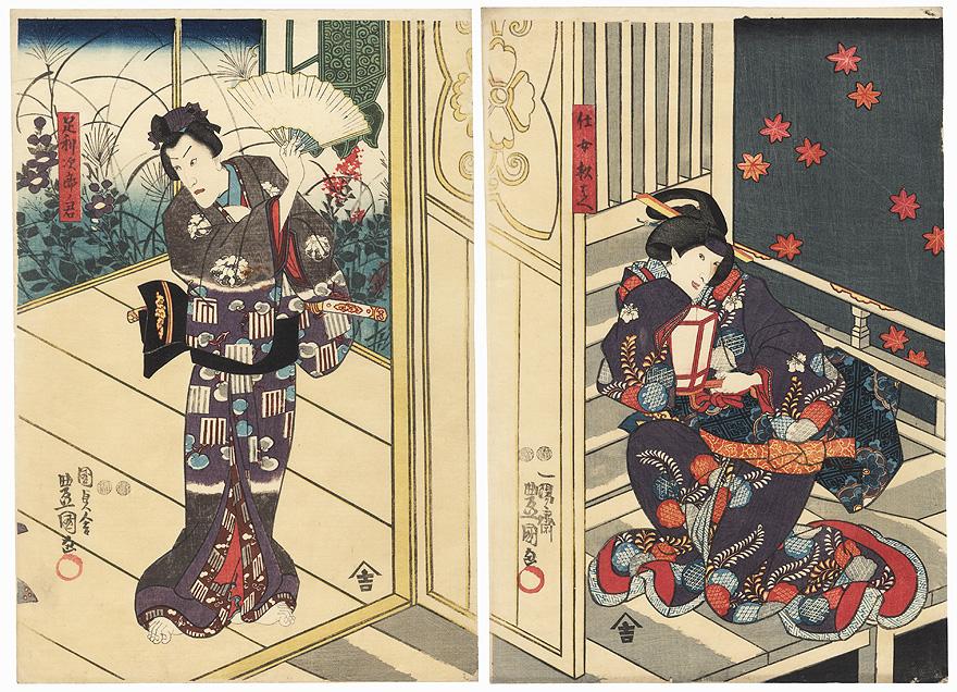 Beauty Eavesdropping, 1851 by Toyokuni III/Kunisada (1786 - 1864)