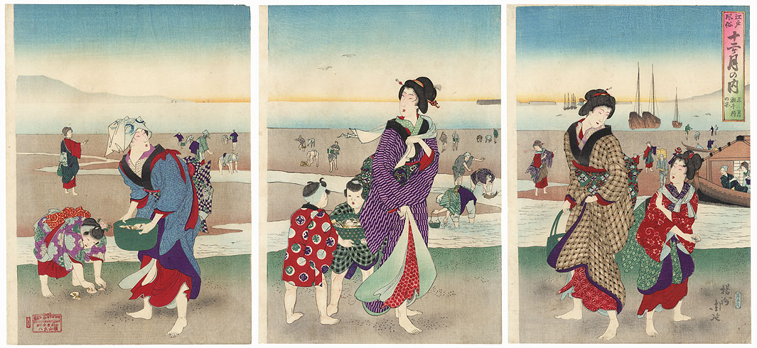 March: Gathering Shells, 1890 by Chikanobu (1838 - 1912)