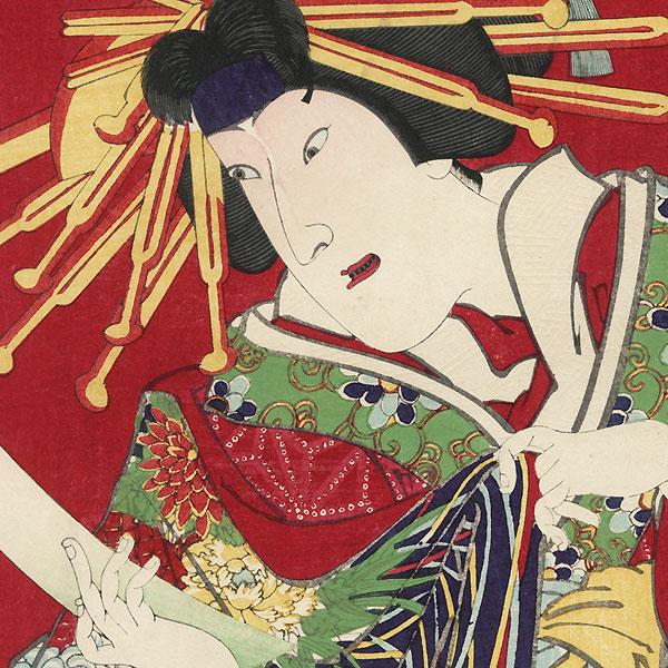 Iwai Hanshiro VIII as Katsuragi by Kunichika (1835 - 1900)