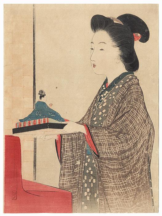 Doll Kuchi-e Print by Takeuchi Keishu (1861 - 1942)