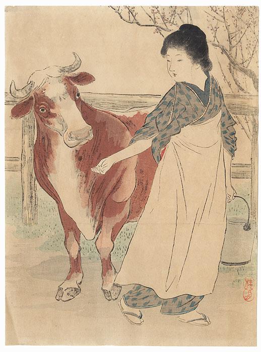 Milk Kuchi-e Print, 1913 by Takeuchi Keishu (1861 - 1942)
