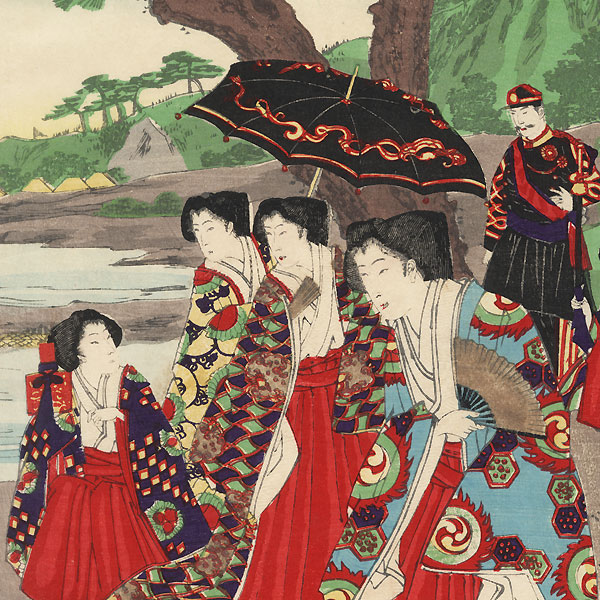 Riverside Outing and Catching Sweetfish, 1886 by Chikanobu (1838 - 1912)