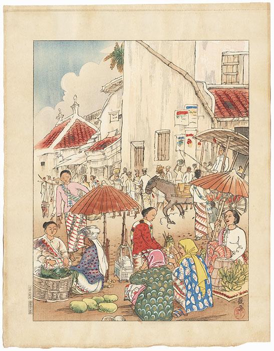 Marketplace in Java by Kokan Kojo (1891 - 1988)