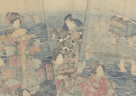 Prince Genji at the Oi River Crossing by Yoshiiku (1833 - 1904)
