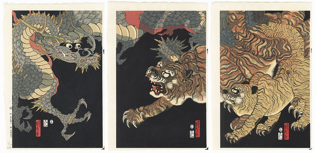 Dragon and Tigers by Sadahide (1807 - 1873)