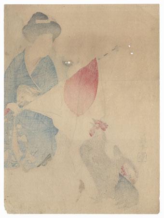 Original Meiji Era Kuchi-e Print by Takeuchi Keishu (1847 - 1915)