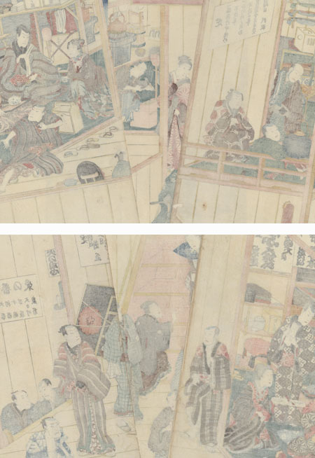 Backstage and Dressing Rooms and Backstage at a Newly Opened Theater, 1856 by Toyokuni III/Kunisada (1786 - 1864)