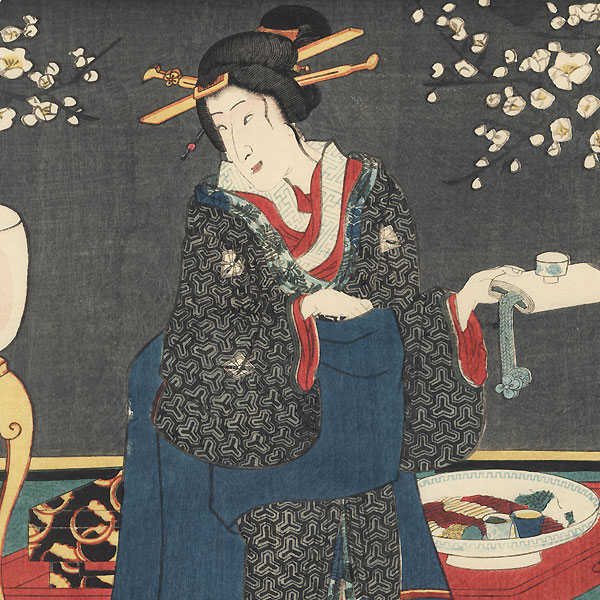 Three Brave Warriors in the Peach Blossom: Party in the Plum Grove, 1854 by Toyokuni III/Kunisada (1786 - 1864)