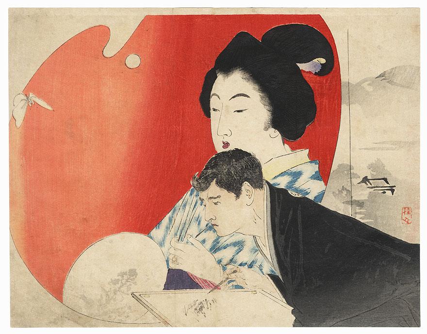 Original Meiji Era Kuchi-e Print by Takeuchi Keishu (1861 - 1942)