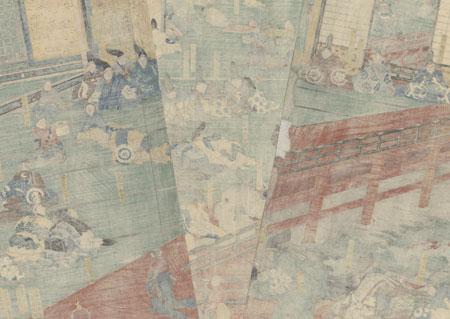 Minamoto no Yoshitsune's First Visit to Fujiwara's Hidehira, circa 1842 - 1843 by Kuniyoshi (1797 - 1861)