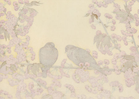 Cherry Trees and Doves (Early Spring), circa 1990s by Toshi Yoshida (1911 - 1995)