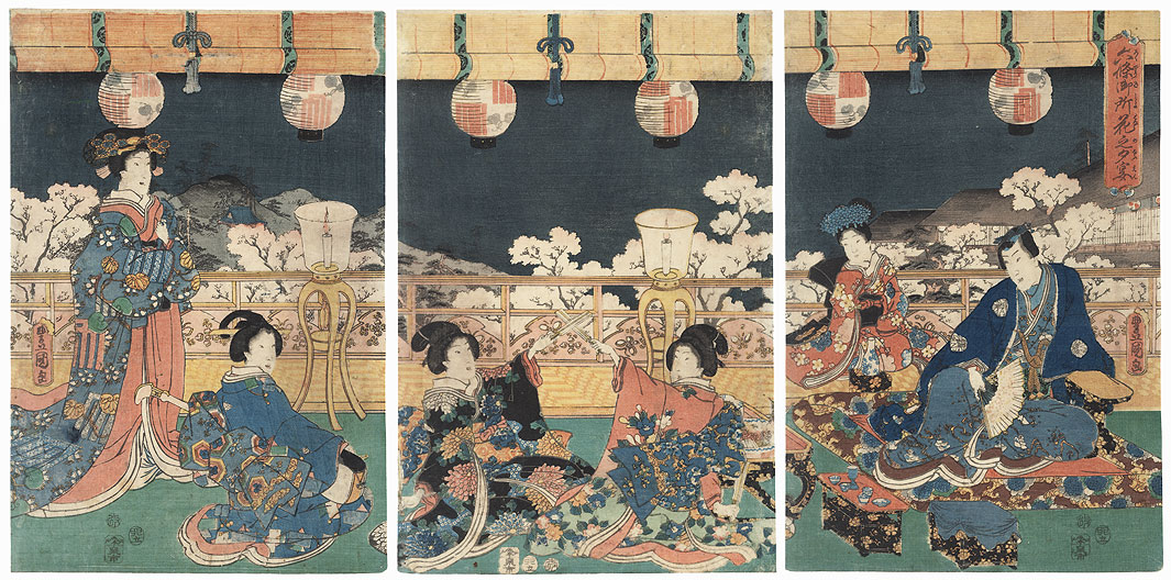 Evening Banquet for Cherry-blossom Viewing at the Rokujo Palace, 1855 by Toyokuni III/Kunisada (1786 - 1864)