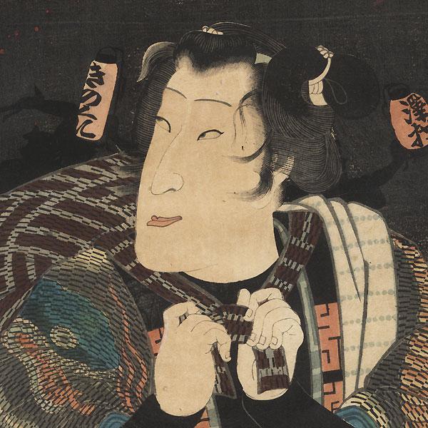 Sawamura Tanosuke III as a Fireman, 1860 by Yoshitsuya (1822 - 1866)