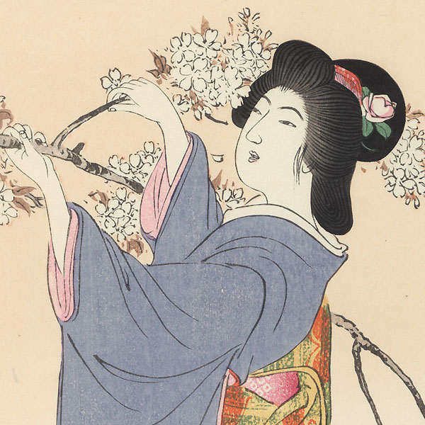 Beauty Breaking off a Blossoming Cherry Branch by Ito Sozan (active 1919 - 1926)