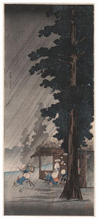 Shower at Takaido, circa 1936 by Shotei (1871 - 1945)