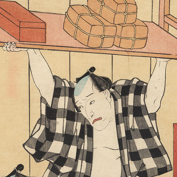 Scene from the Shank's Mare Tokaido, 1854 by Toyokuni III/Kunisada (1786 - 1864)