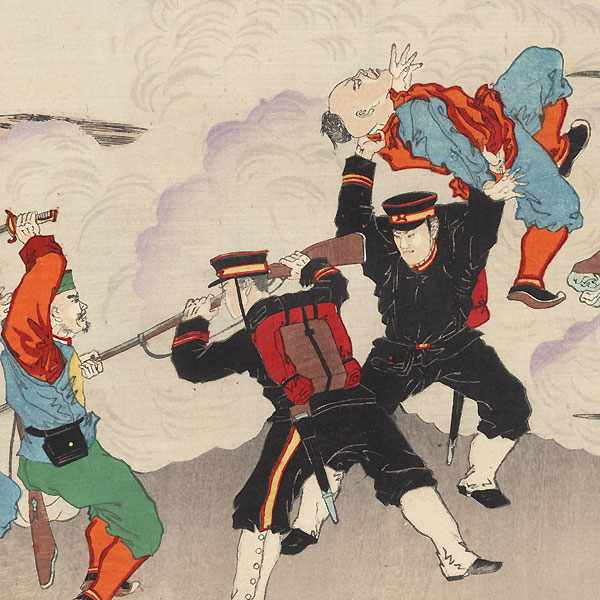 Attacking Chinese Earthworks during the Sino-Japanese War, 1894 by Meiji era artist (not read)