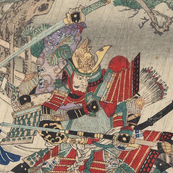 Imagawa Yoshimoto Fighting off Hattori Koheita and Mori Shinsuke by Chikanobu (1838 - 1912)