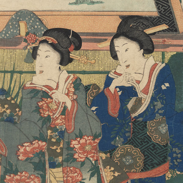 A Framed Set of Senryu Poems Dedicated to Mt. Takao, 1861 by Kuniaki II (1835 - 1888)
