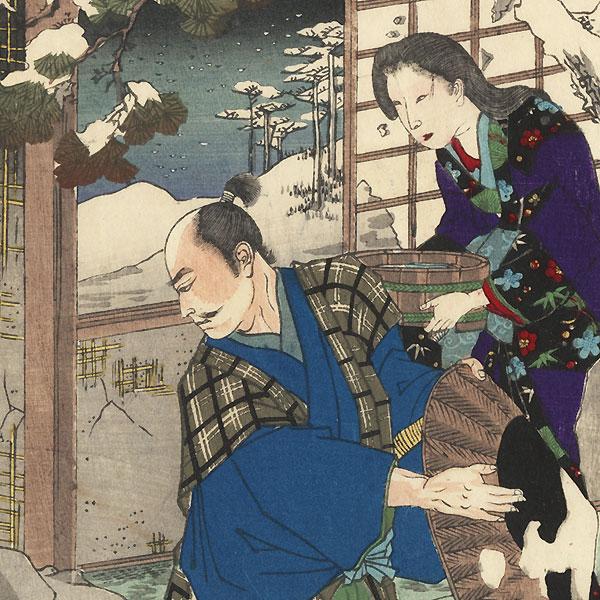 Yashu, Snow at Sano, Saimyo-ji, Sano Genzaemon and His Wife Shirotae, No. 32 by Chikanobu (1838 - 1912)