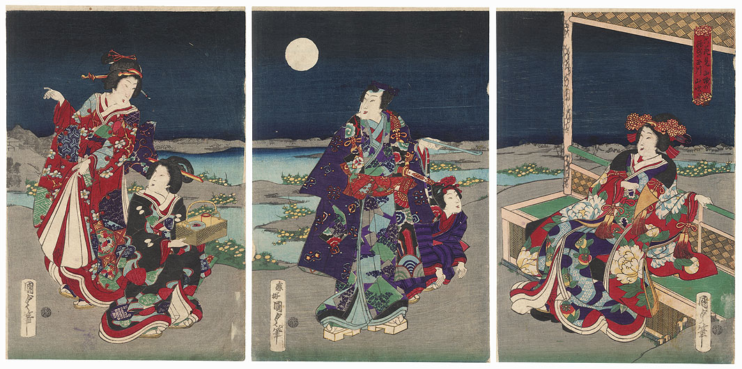 Prince Genji Enjoying a Moonlit Night, 1867 by Kunisada II (1823 - 1880)