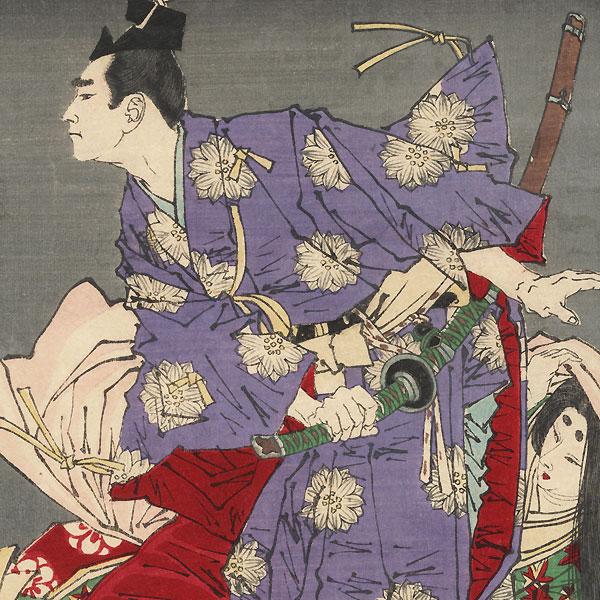 Kusunoki Tatewaki Masatsura Rescuing Ben no Naishi, 1881 by Yoshitoshi (1839 - 1892)