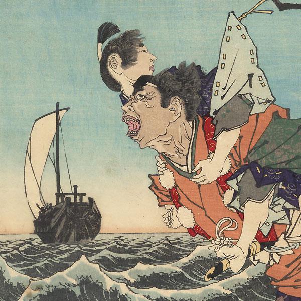 Priest Helping Hino Kumawakamura Escape from Sado, 1887 by Yoshitoshi (1839 - 1892)