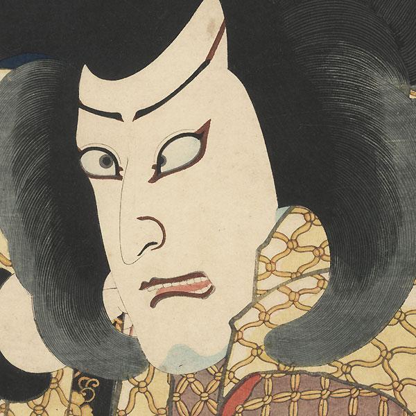 Kawarazaki Gonjuro I as Akushichibyoe Kagekiyo, 1861 by Kuniaki II (1835 - 1888)