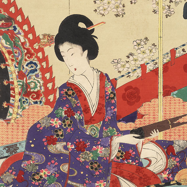 Preparing for a Concert, 1894 by Chikanobu (1838 - 1912)