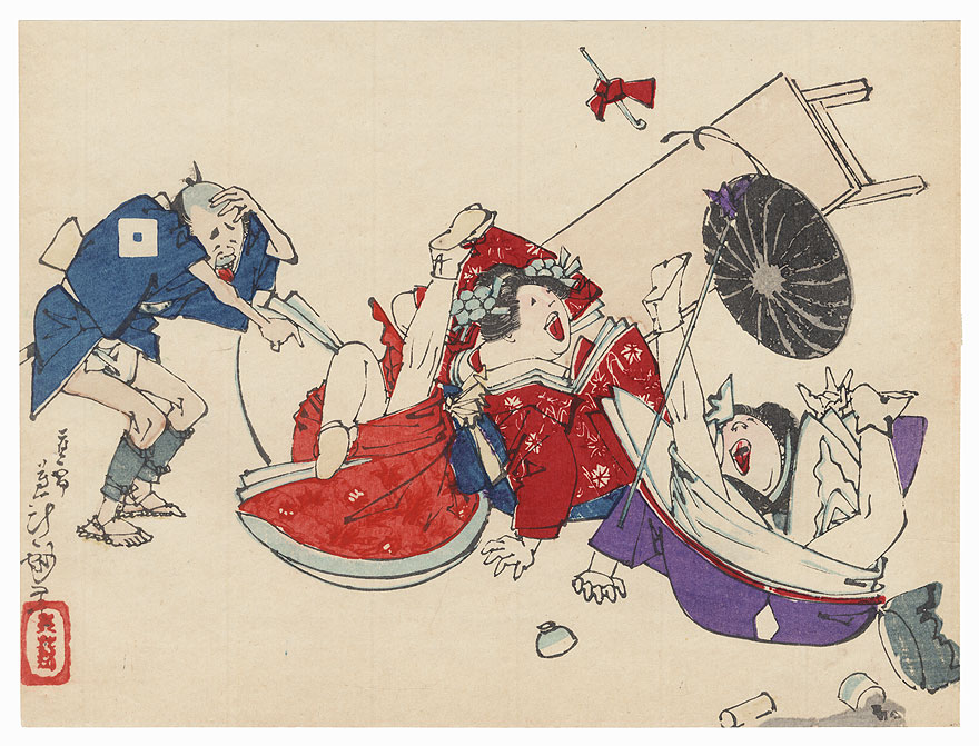 The 47 Ronin, Act 8: Tonase and Konami Fall off a Bench by Yoshitoshi (1839 - 1892)