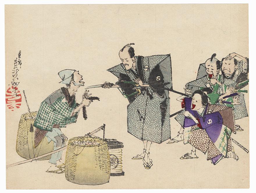 The 47 Ronin, Act 4: Yuranosuke Threatens a Street Vendor with Lord Hangan's Dirk by Yoshitoshi (1839 - 1892)