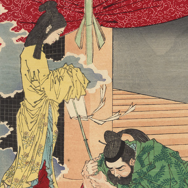 Lord Wake no Kiyomaro Receiving Oracles from the Deity at Usa Hachiman Shrine, 1881 by Yoshitoshi (1839 - 1892)