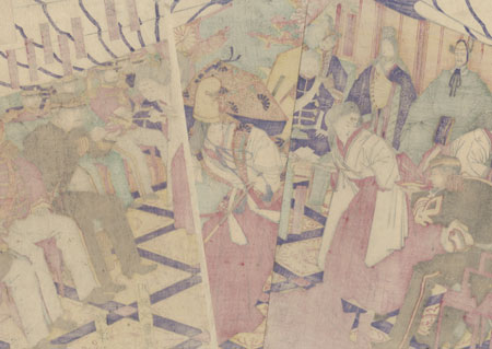 Commanders Receiving the Emperor's Drinking Cups by Toshinobu (active circa 1857 - 1886)
