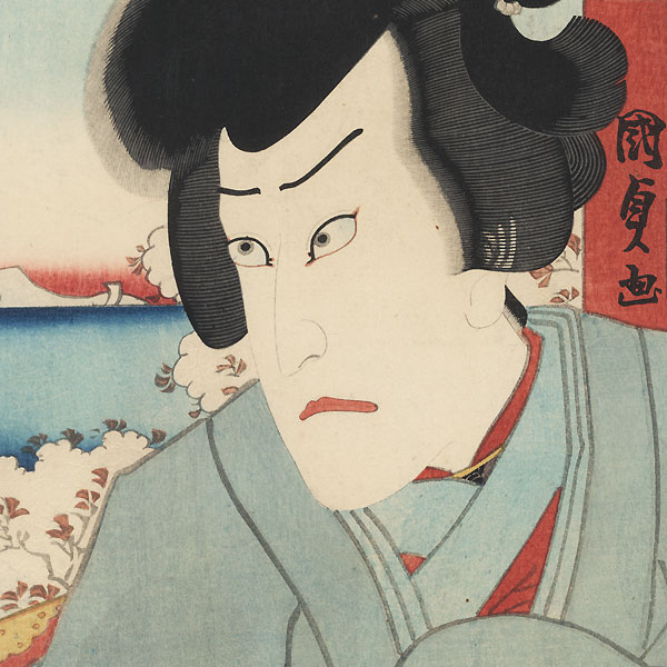 Worried Man at a Temple by Kunisada II (1823 - 1880)