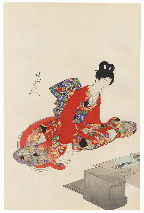 Kneeling Beauty by Chikanobu (1838 - 1912)
