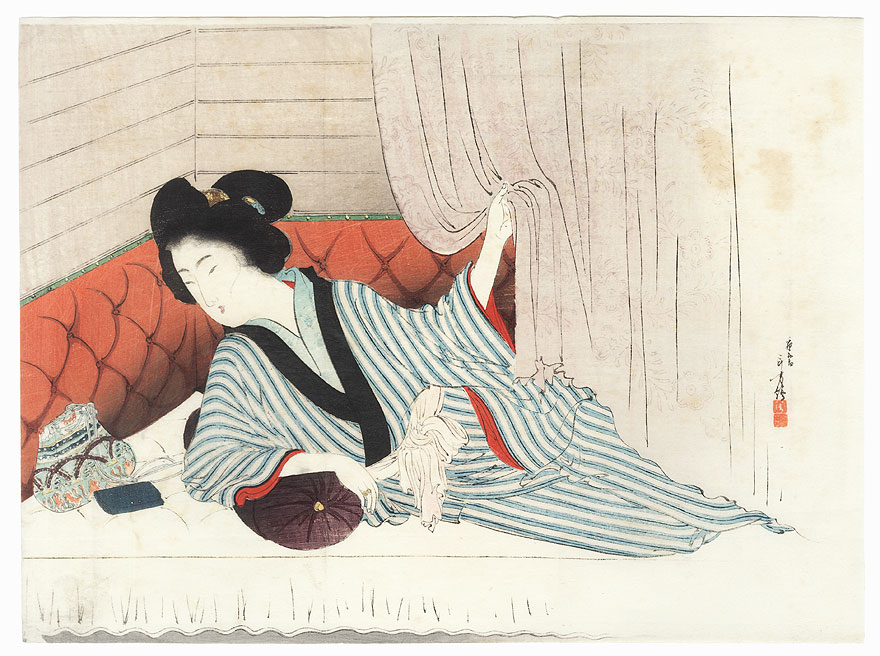 Waking Up Kuchi-e Print by Toshikata (1866 - 1908)