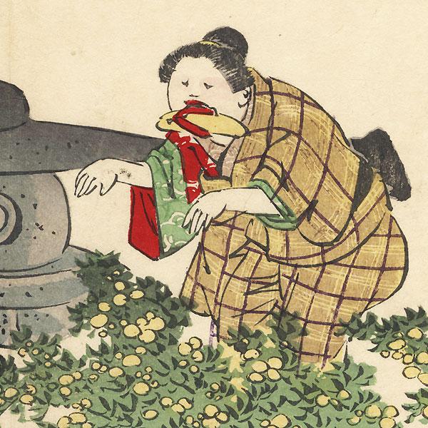 The Garden Scene from Kagamiyama by Yoshitoshi (1839 - 1892)