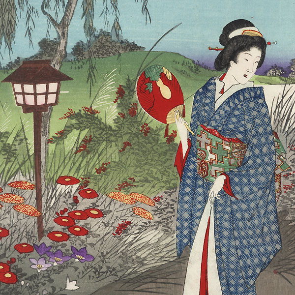 Moon at a Vacation House, 1891 by Chikanobu (1838 - 1912)