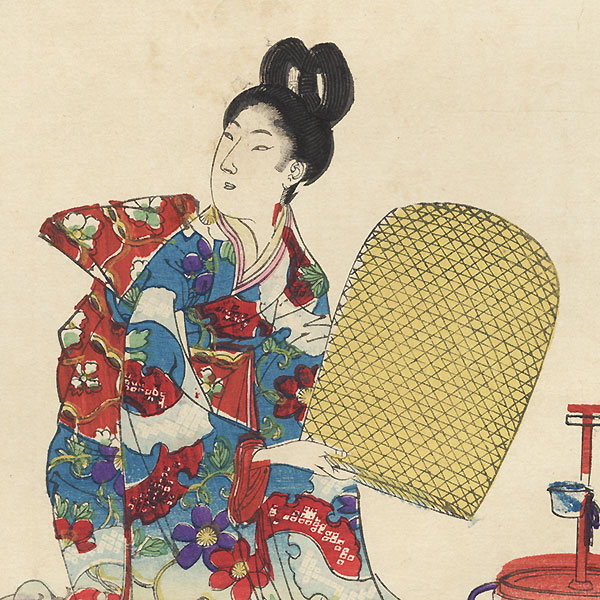 Girl opening a Bird Cage by Meiji era artist (unsigned)