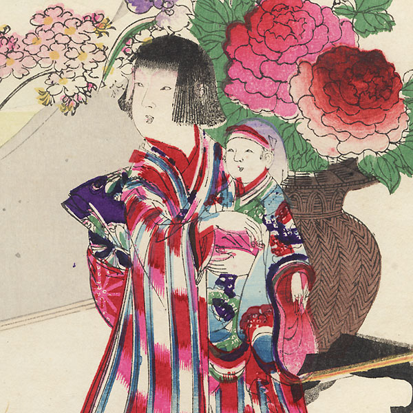 Girl Holding a Doll by Meiji era artist (unsigned)