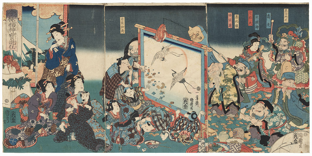 The Seven Lucky Gods at New Year's, 1867 by Kunichika (1835 - 1900)