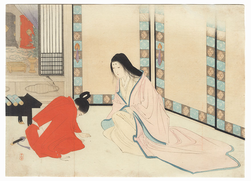 Mother and Son Kuchi-e Print by Meiji era artist (not read)