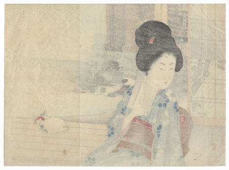 Beauty and Cat Kuchi-e Print, 1897 by Toshikata (1866 - 1908)